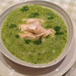 Cold busting green soup with baked haddock pieces